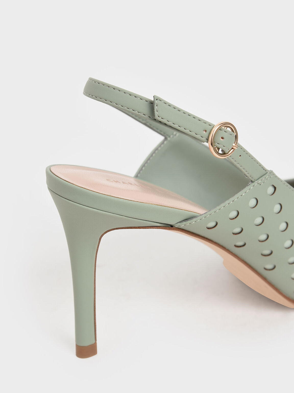 Laser-Cut Slingback Pumps, Sage Green, hi-res