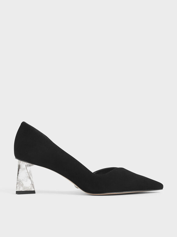 Chrome Heel Pumps (Kid Suede), Black, hi-res