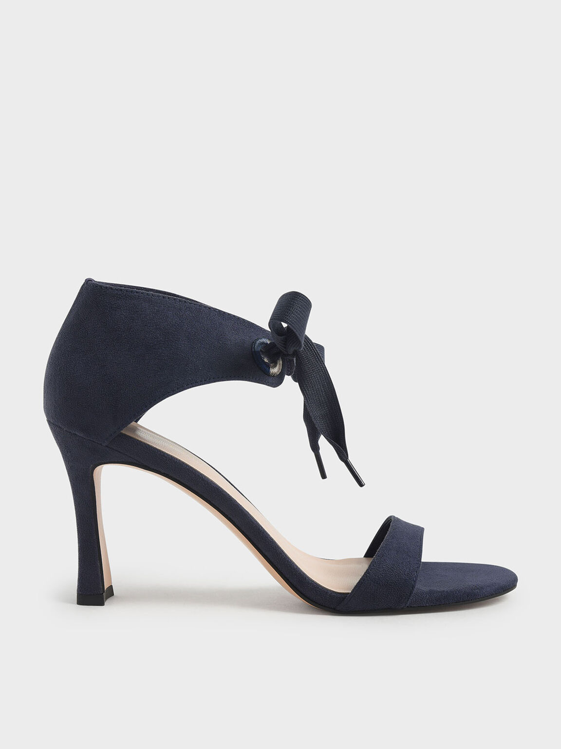 Bow Ankle Strap Sculptural Heel Sandals, Dark Blue, hi-res