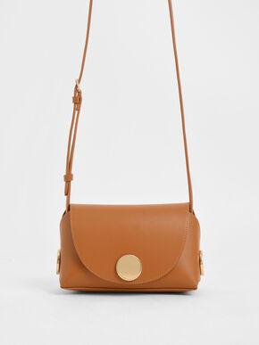 Metal Accent Mini Crossbody Bag, Tan