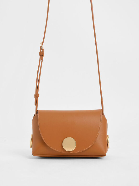 Metal Accent Mini Crossbody Bag, Tan, hi-res