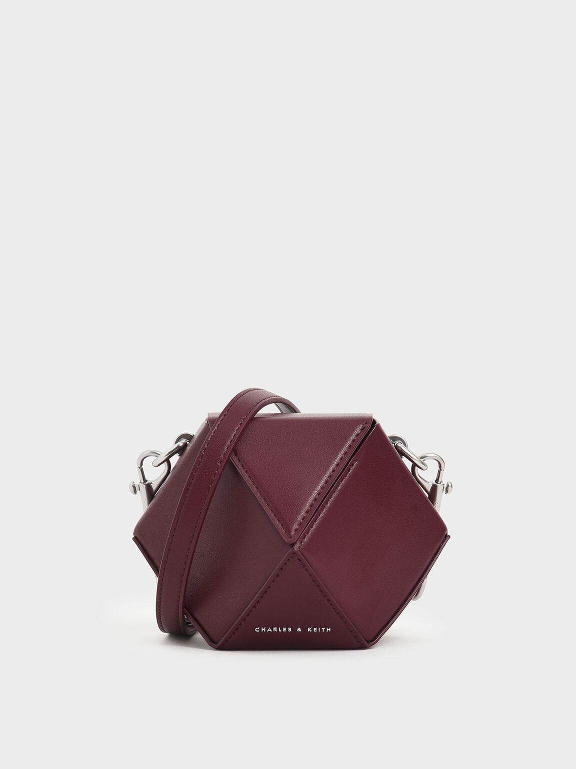 正六角形手提包, 酒紅色, hi-res