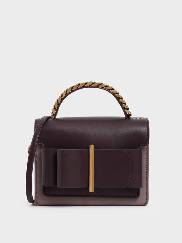 蝴蝶結金屬手提包, 紫灰色, hi-res
