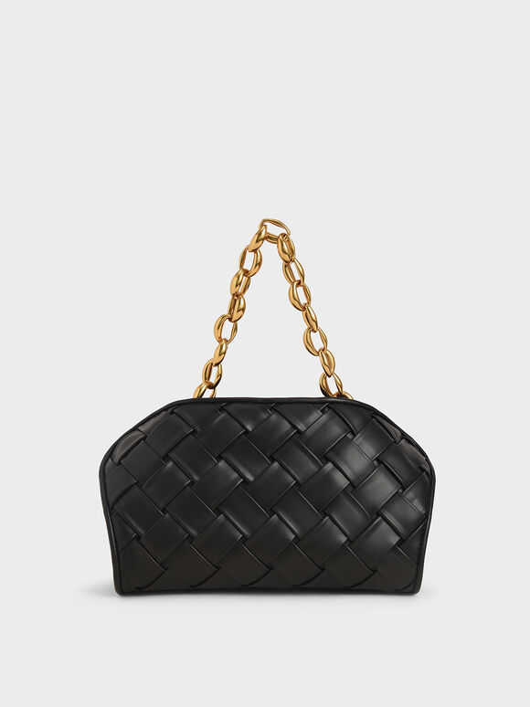 Woven Shoulder Bag, Black, hi-res
