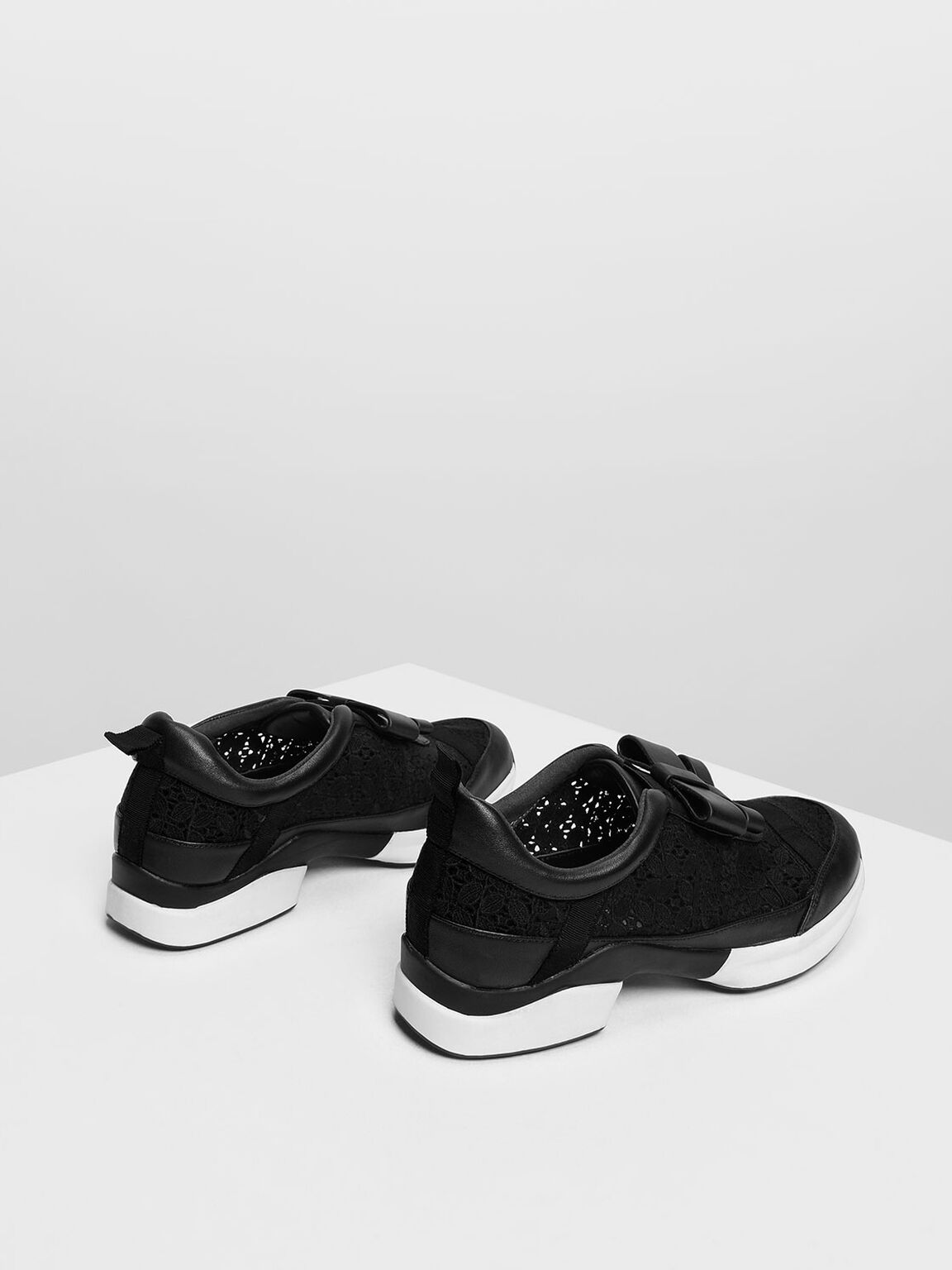 Leather Bow Crochet Slip-On Sneakers, Black, hi-res