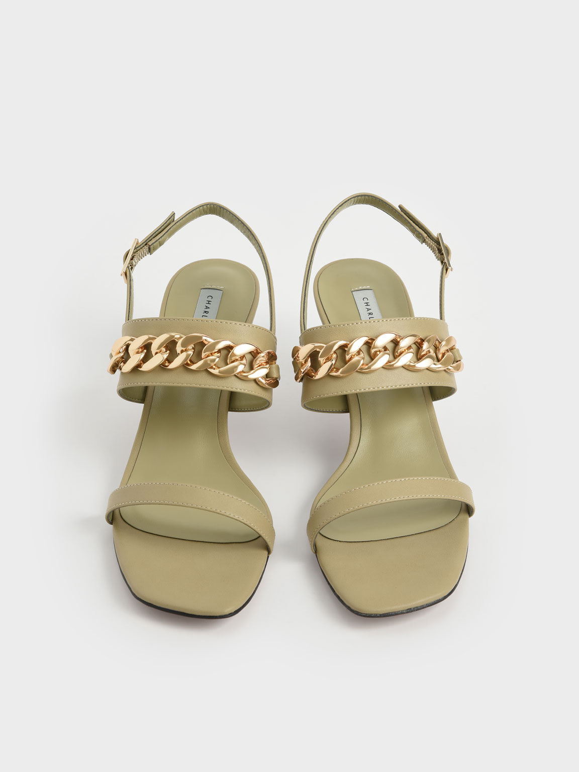 Chain Strap Heeled Sandals, Taupe, hi-res