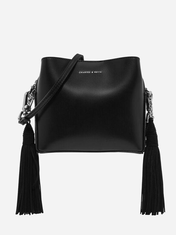 Tassel Sling Bag, Black, hi-res