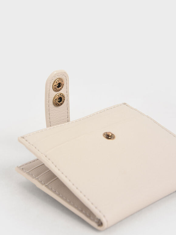 Snap Button Card Holder, Ivory, hi-res