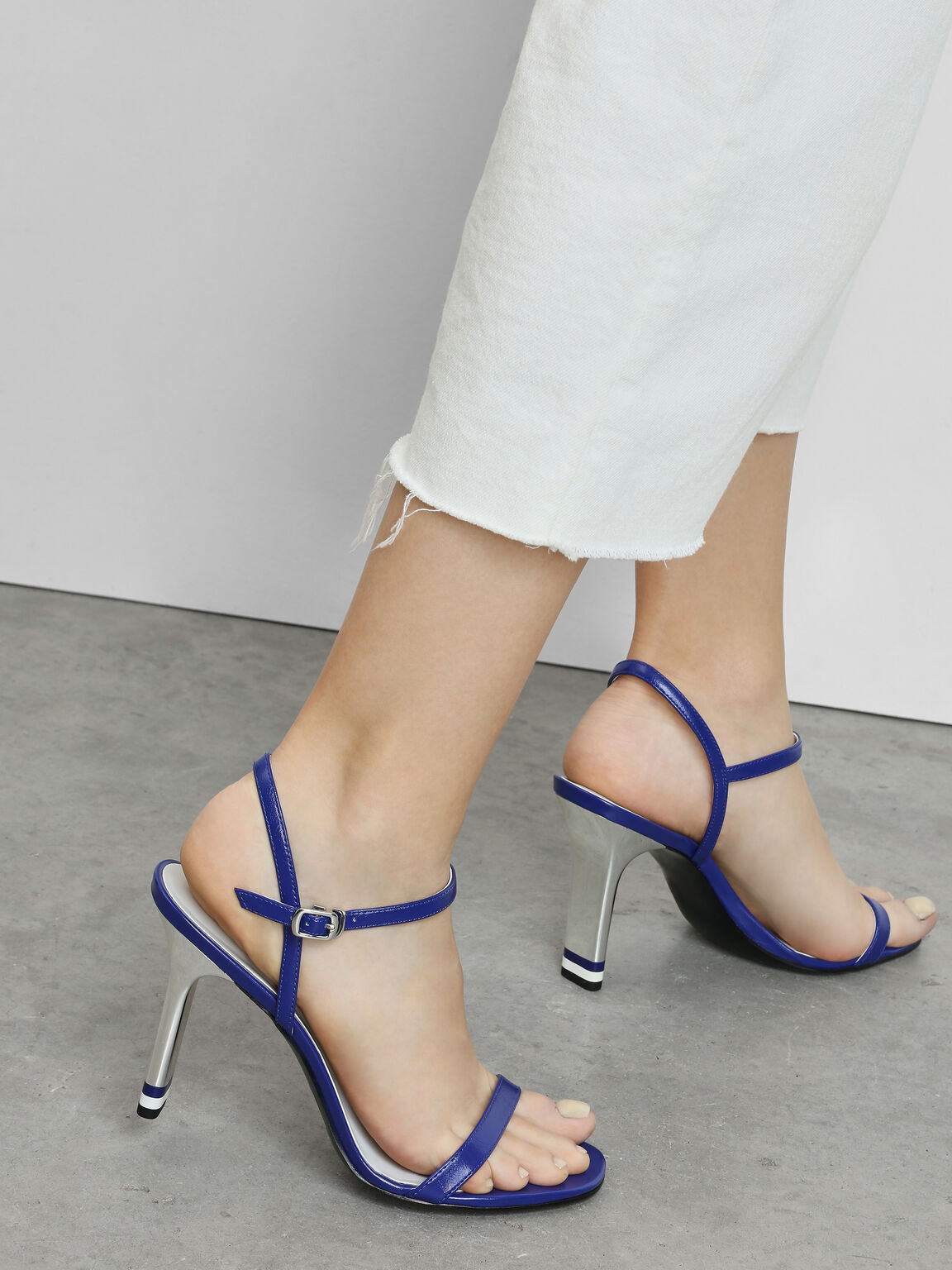 Ankle Strap Blade Heel Sandals, Blue, hi-res
