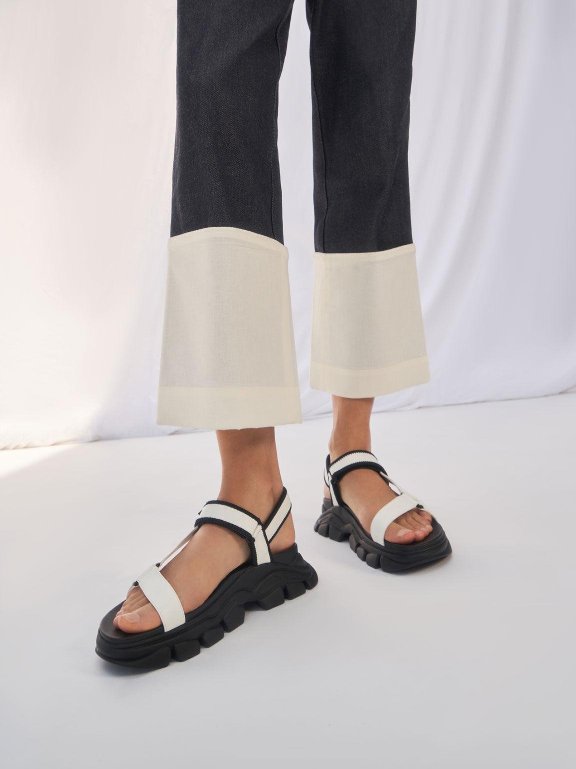 Dash Chunky Sandals, White, hi-res