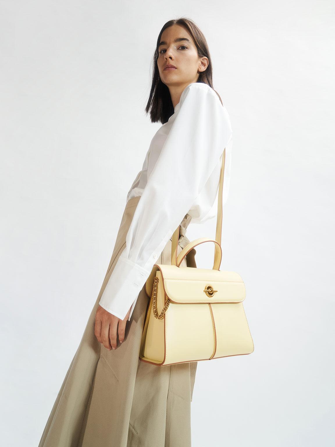 Chain Detail Geometric Bag, Butter, hi-res