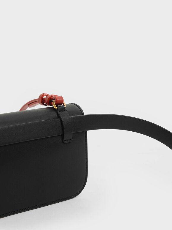 Stone-Embellished Crossbody Bag, Black, hi-res