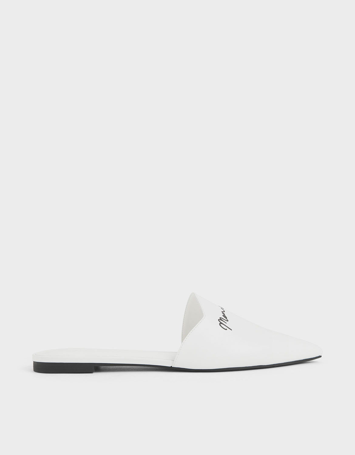 White Embroidered Pointed Mules