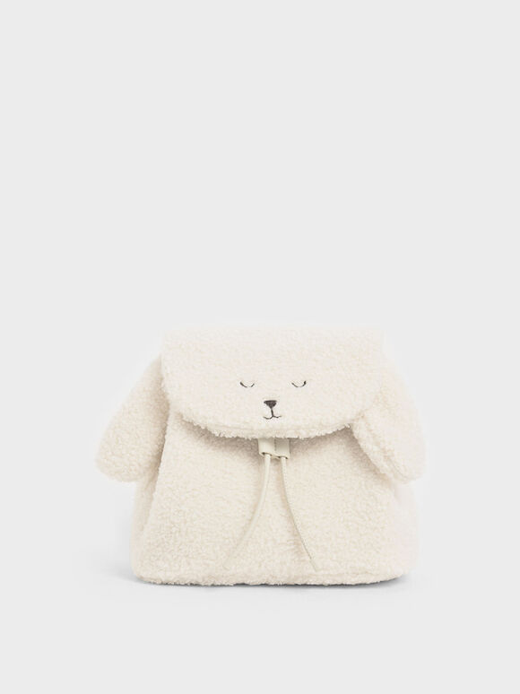 Girls' Nellie The Lamb Furry Backpack, Beige, hi-res