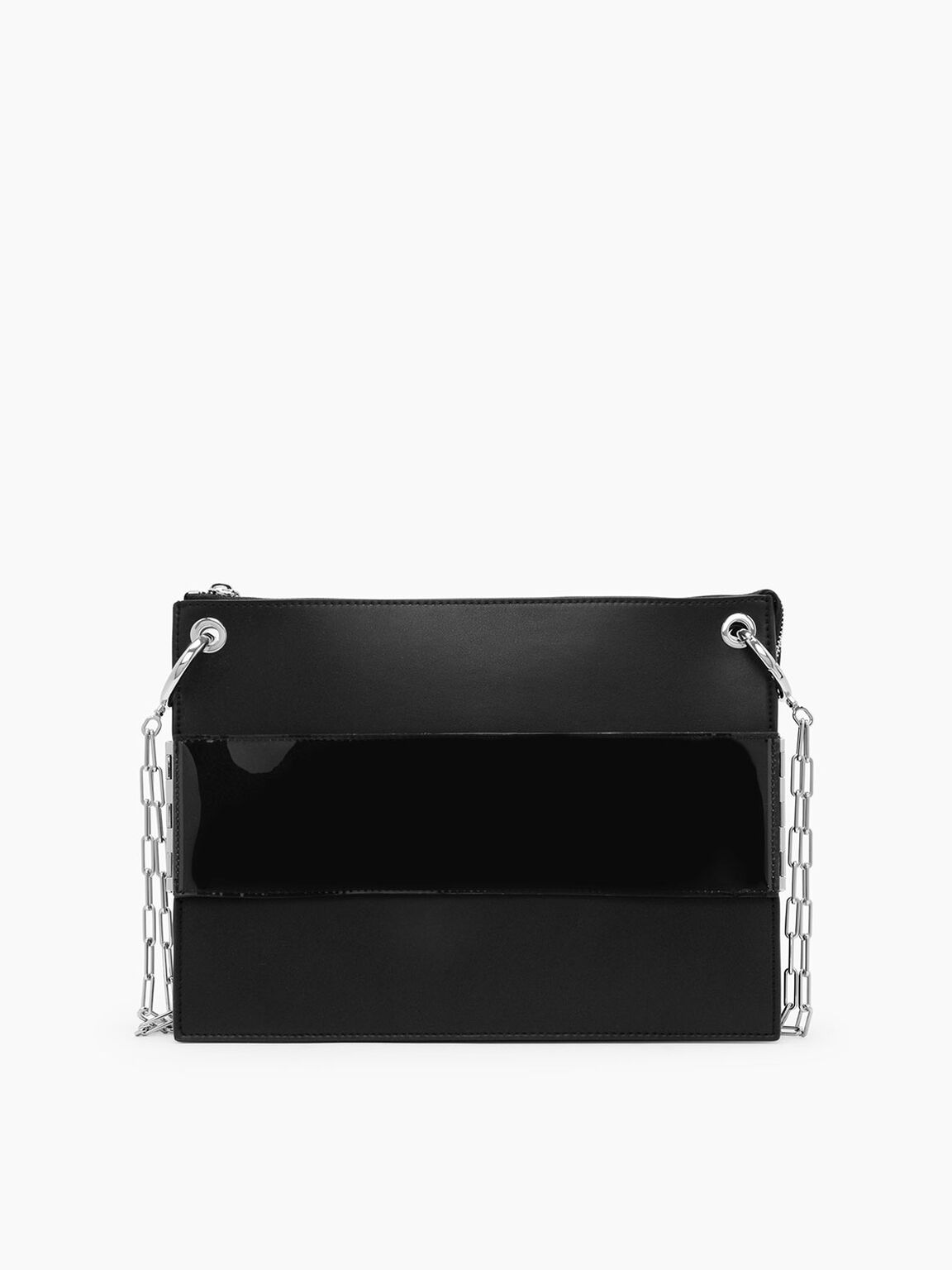 Grommet Flat Clutch, Black, hi-res
