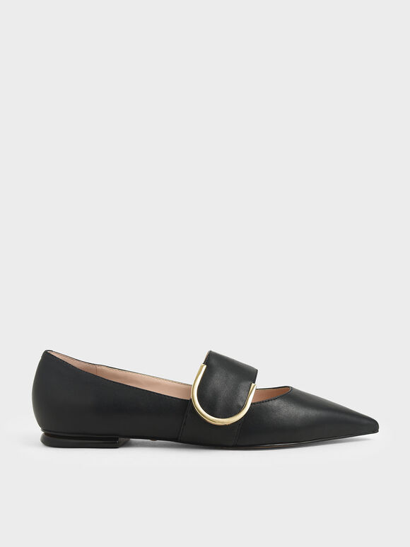 Leather Mary Jane Flats, Black, hi-res