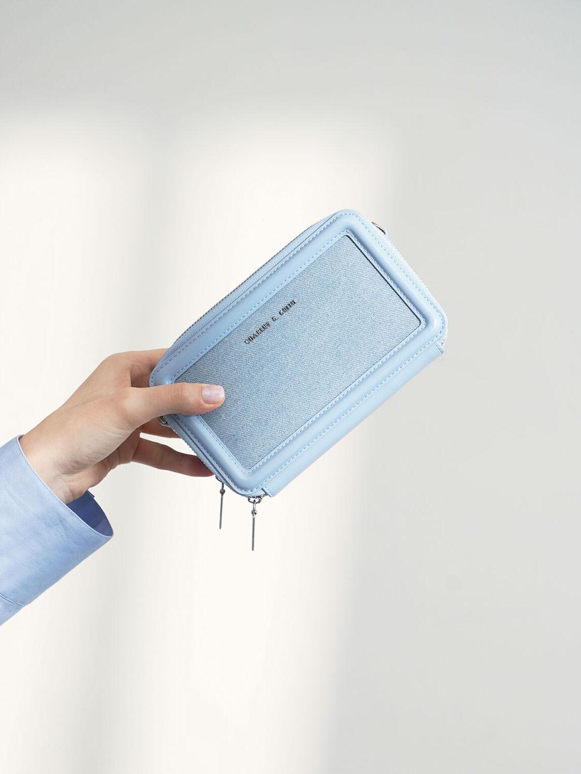 丹寧拉鍊皮夾, 丹寧藍, hi-res