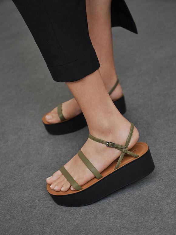Strappy Flatform Sandals, Olive, hi-res