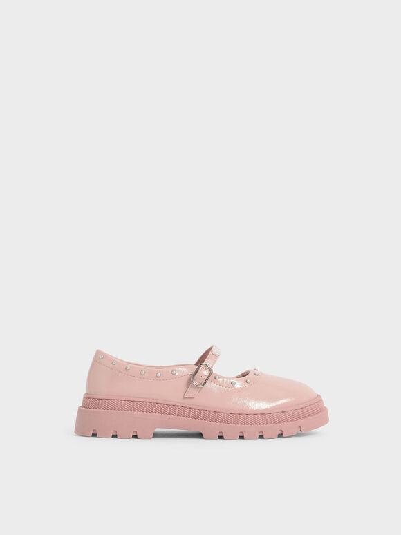 兒童橡膠厚底瑪莉珍鞋, 粉紅色, hi-res