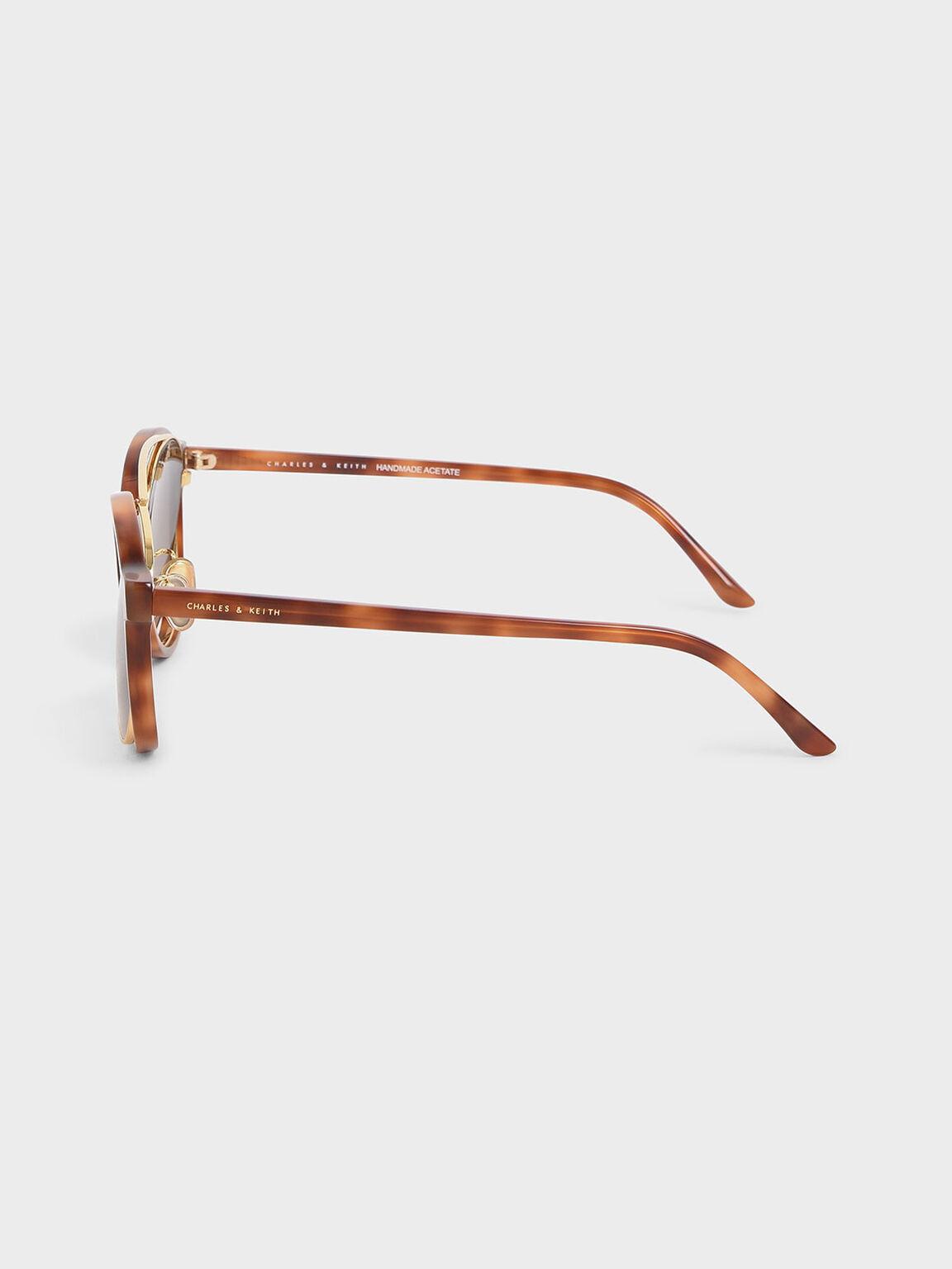 漸層圓框墨鏡, 玳瑁棕, hi-res