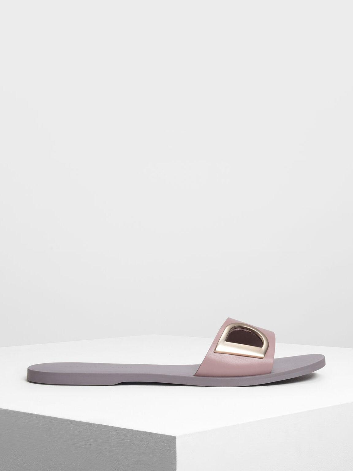 D-Ring Detail Sliders, Pink, hi-res