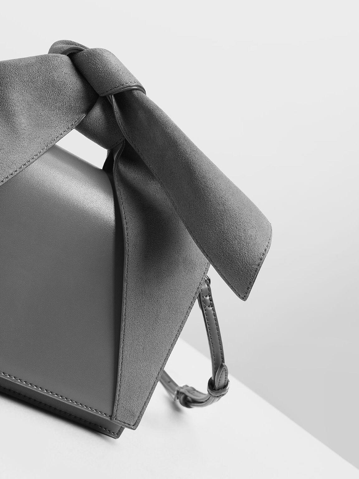 Bow Top Handle Bag, Grey, hi-res