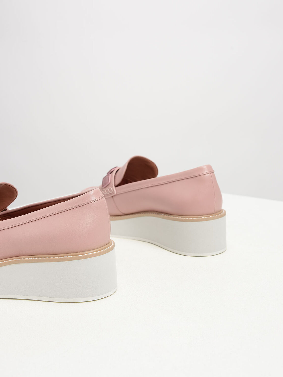 Embellished Flatform Loafers, Blush, hi-res