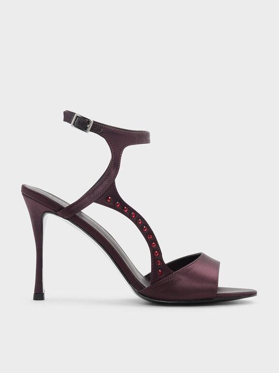 Embellished Heeled Sandals, Burgundy