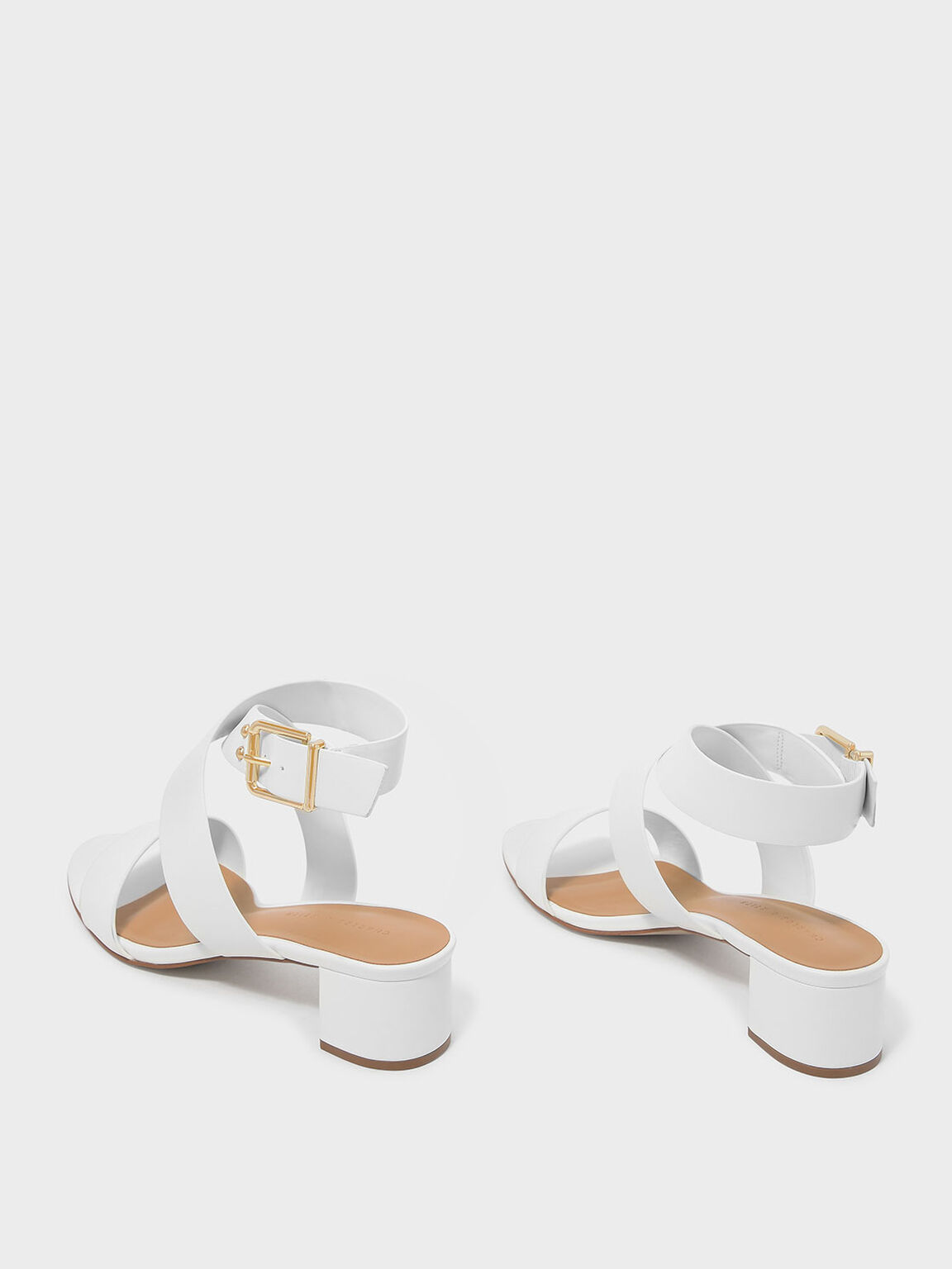 Criss Cross Thick Strap Heeled Sandals, White, hi-res