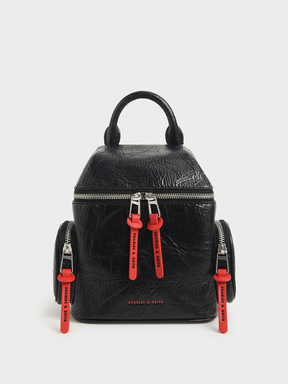 Wrinkled Effect Two-Way Zip Backpack, Black, hi-res