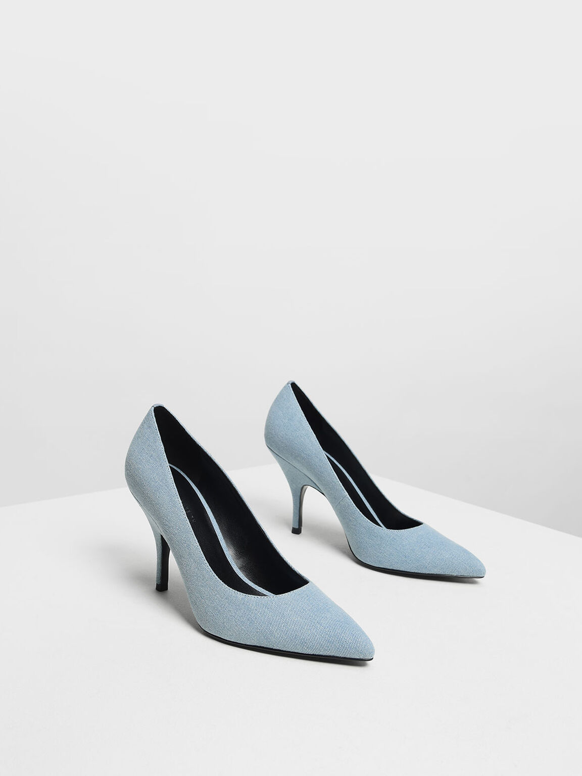 Classic Covered Denim Pumps, Light Blue, hi-res