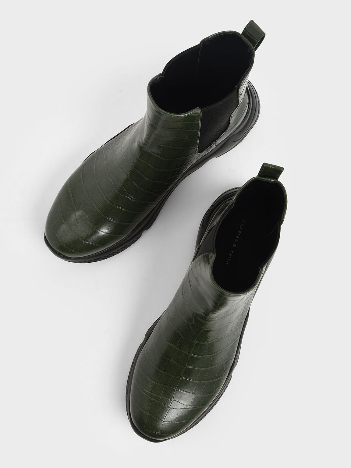 Croc-Effect Chunky Sole Chelsea Boots, Green, hi-res