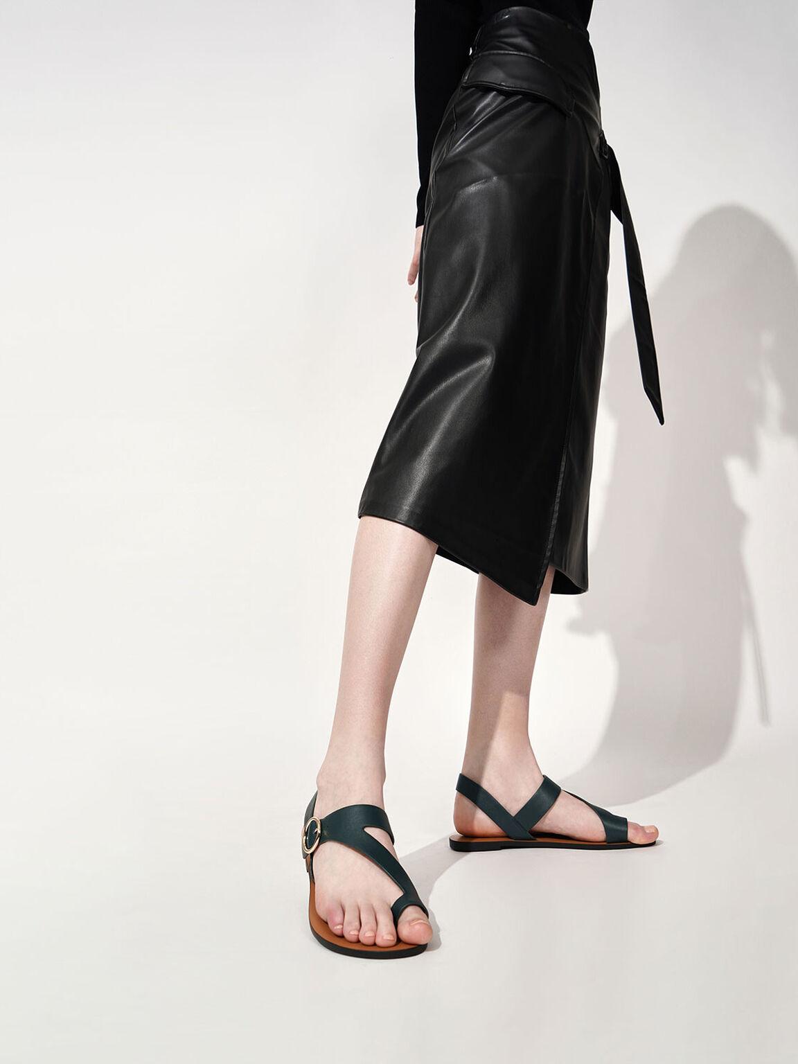 Toe Loop Asymmetric Strap Flats, Dark Green, hi-res
