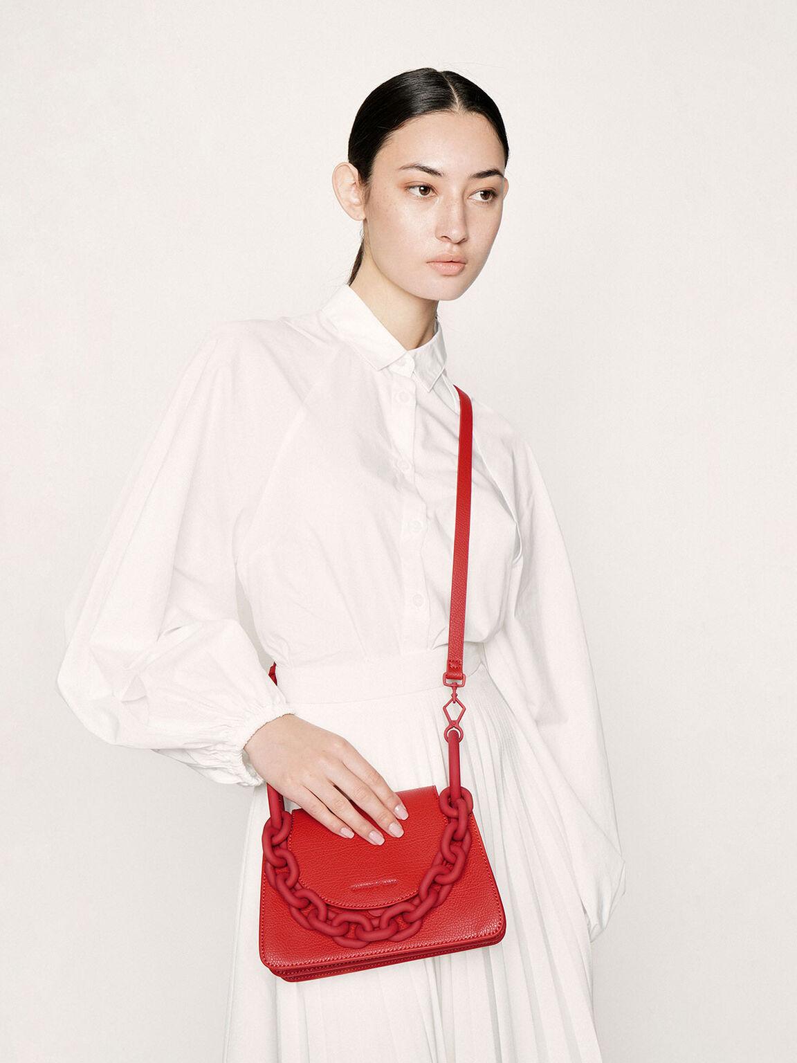 粗鍊小型肩背包, 紅色, hi-res
