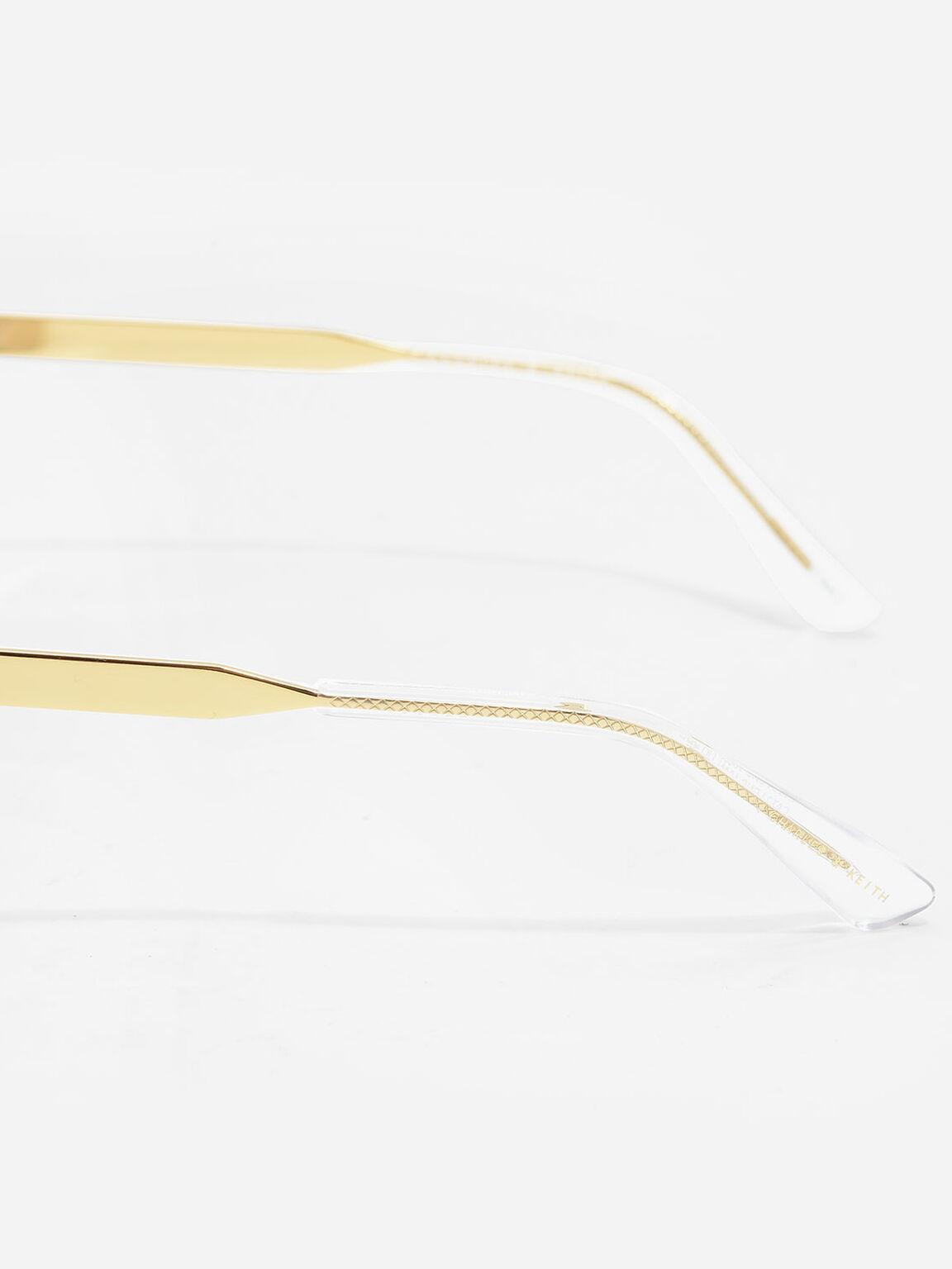 Round Half-Frame Eyewear, Gold, hi-res