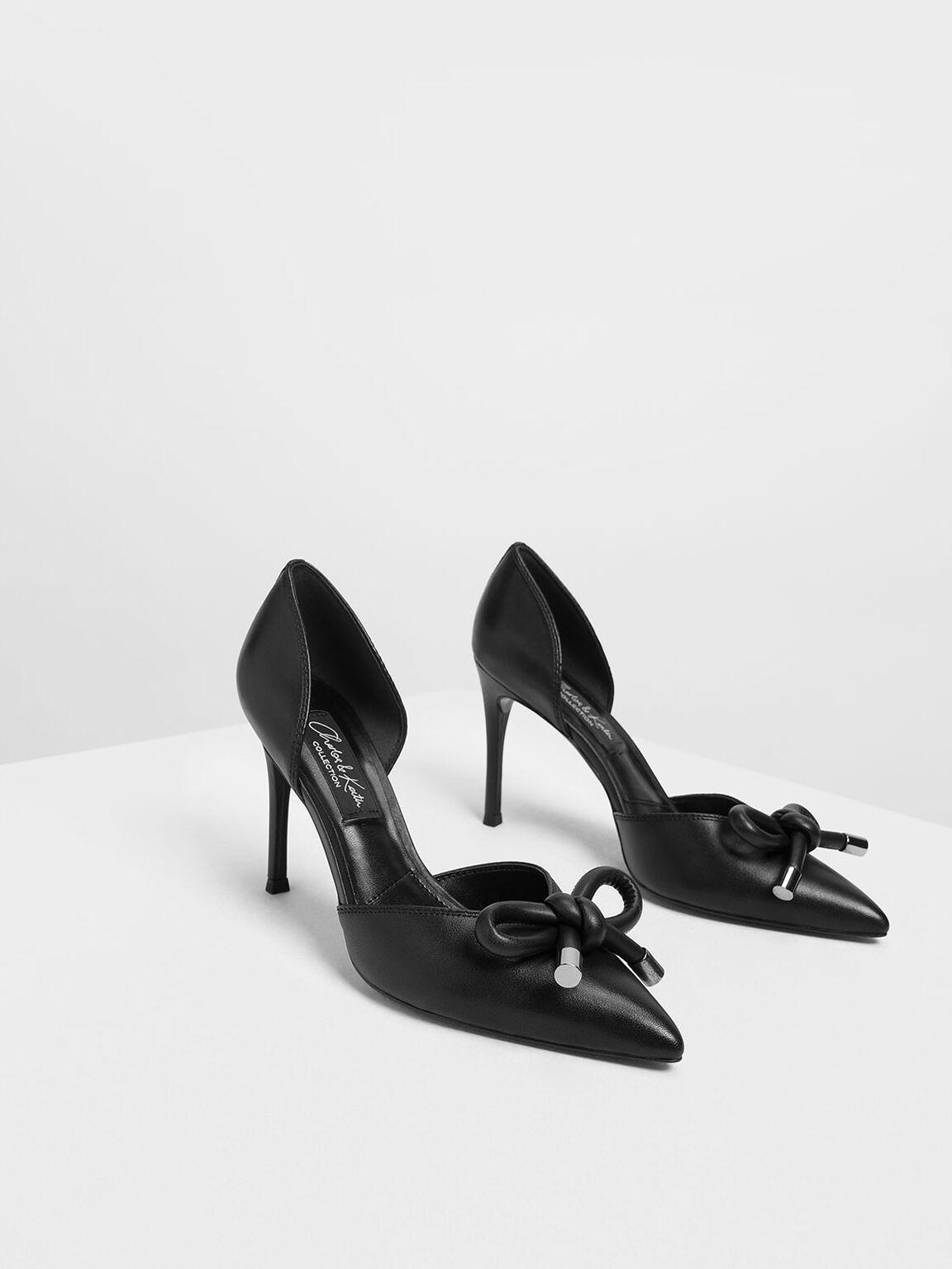 Bow Detail Leather D'Orsay Pumps, Black, hi-res