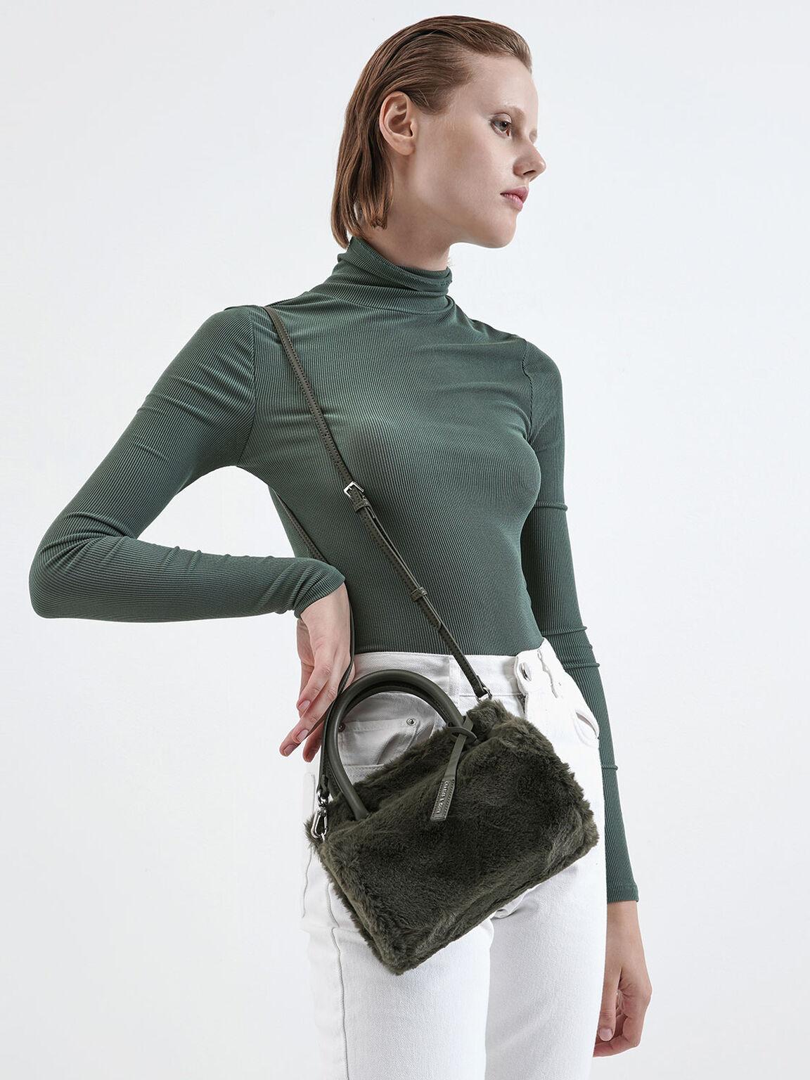 Textured Double Top Handle Bag, Olive, hi-res