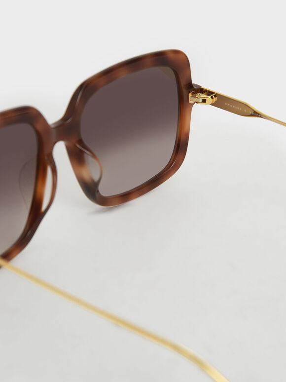 Square Acetate Tortoiseshell Sunglasses, T. Shell, hi-res