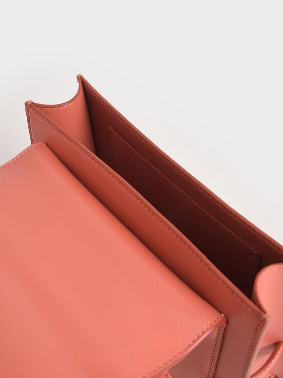 Metallic Push-Lock Crossbody Bag, Coral, hi-res