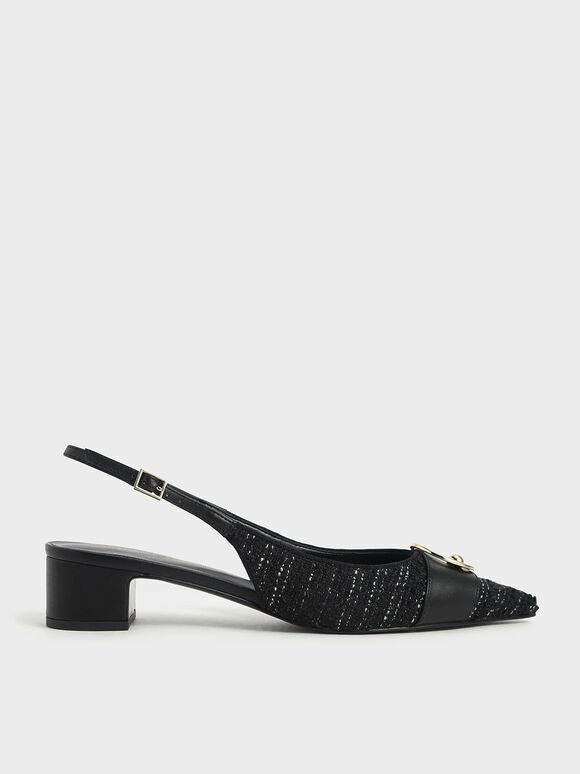 Ring Embellished Tweed Slingback Court Shoes, Black Textured, hi-res