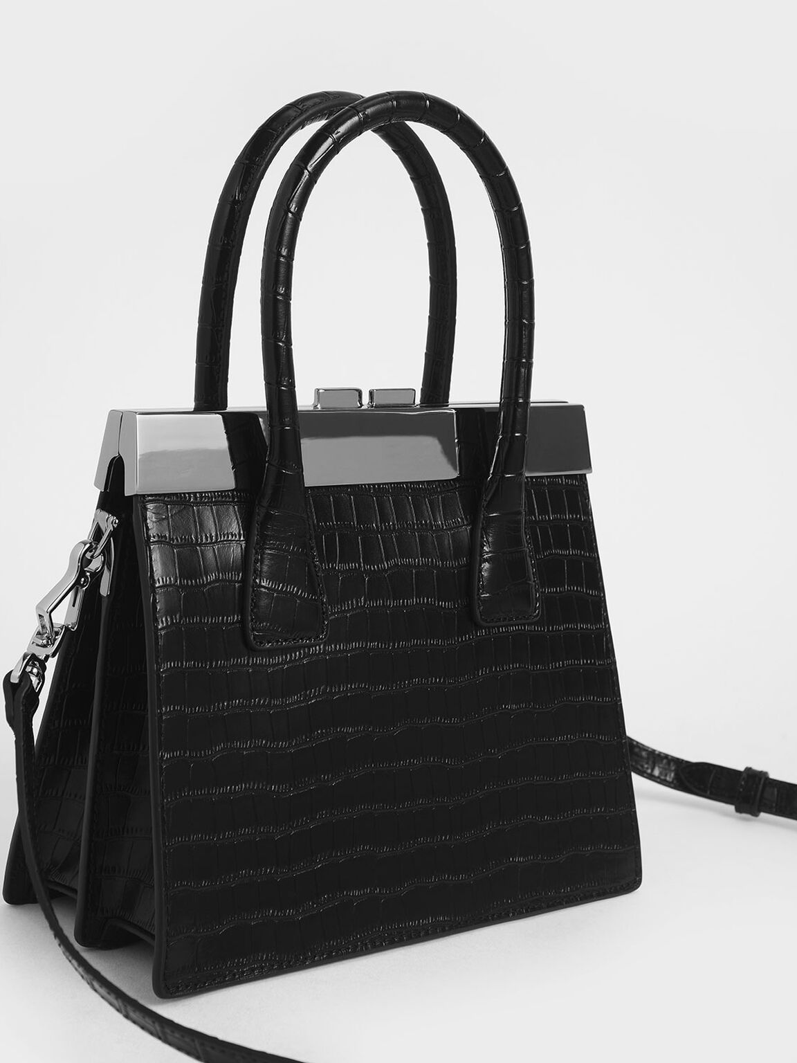 Croc-Effect Leather Top Handle Bag, Black, hi-res
