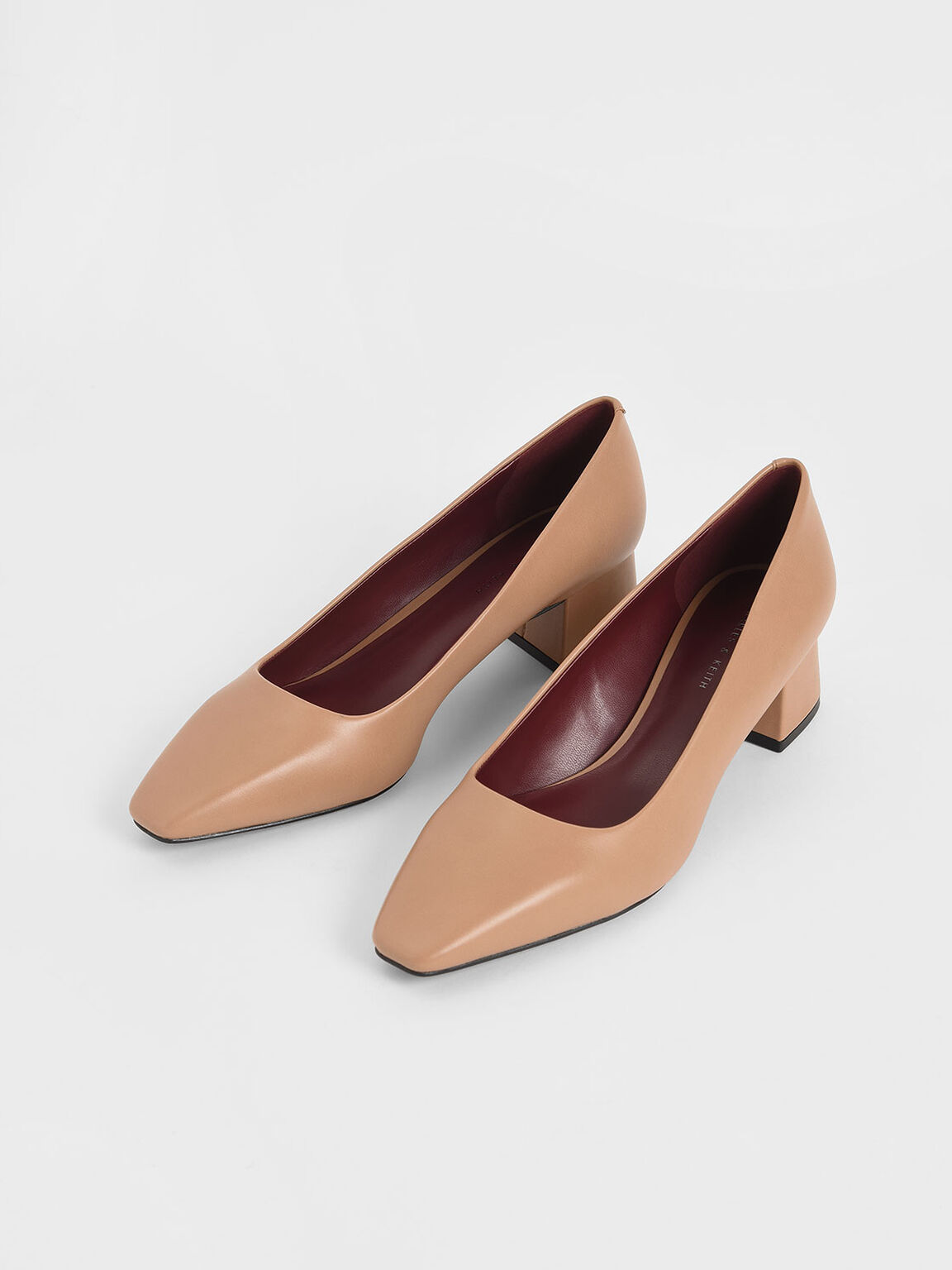 Square Toe Block Heel Pumps, Nude, hi-res