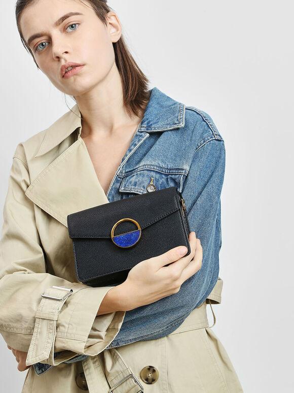 Stone Embellished Shoulder Bag, Black, hi-res
