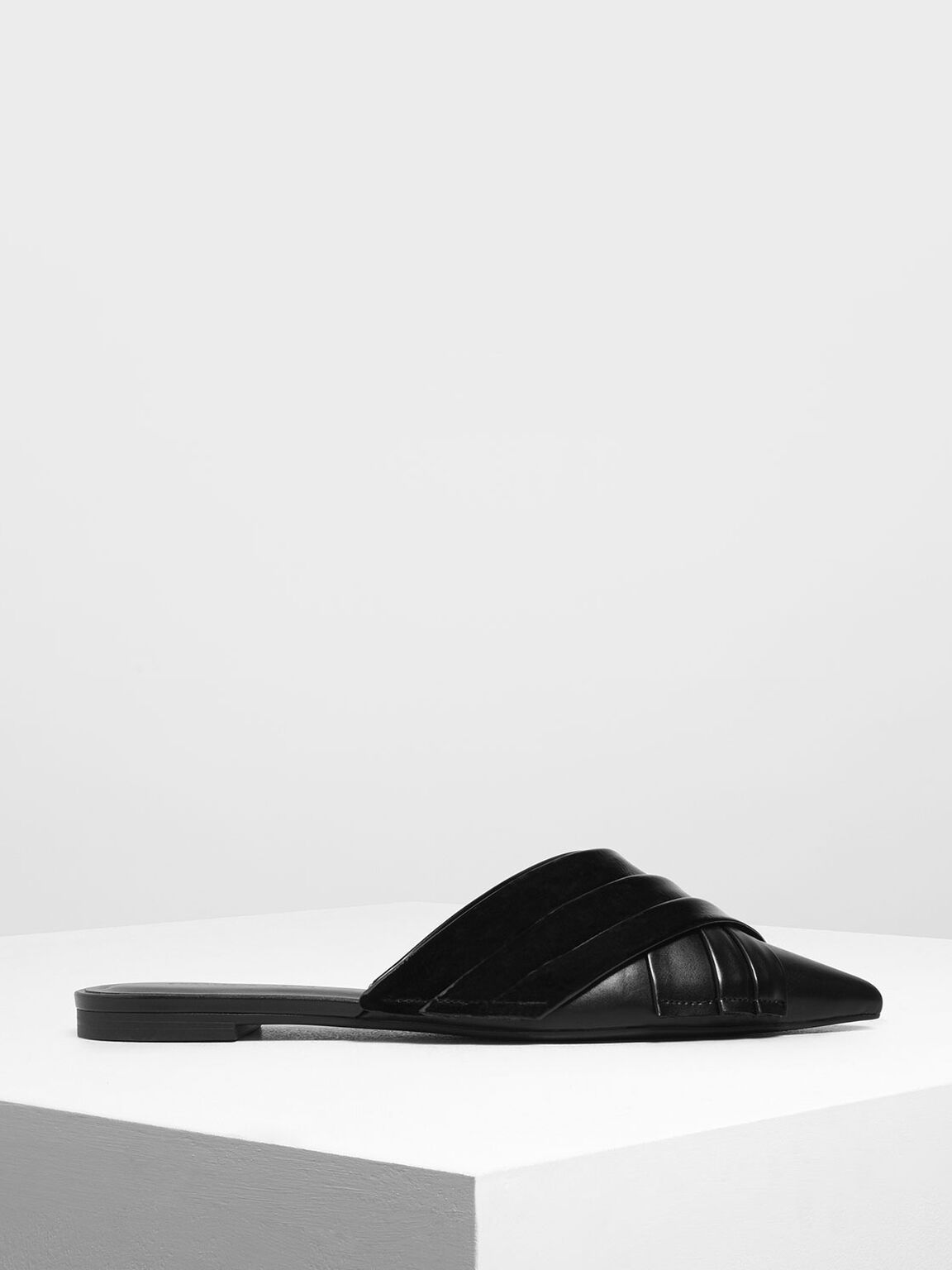 Pleated Wrinkled Patent Flat Mules, Black, hi-res