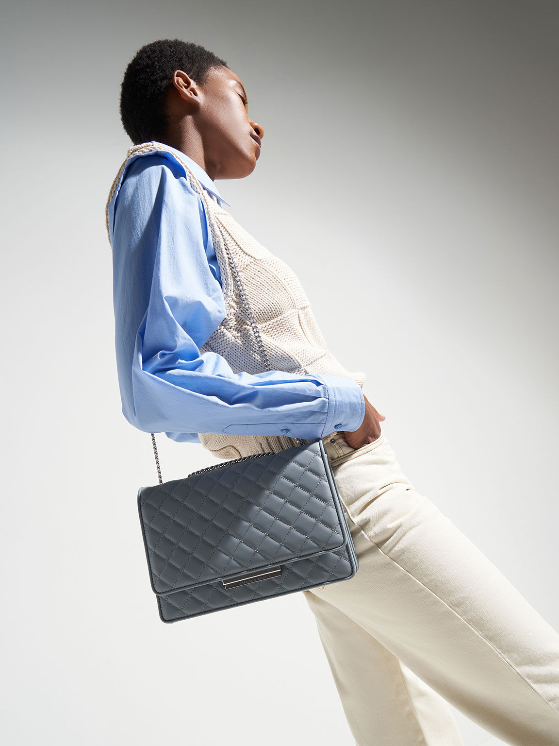 Quilted Chain Bag, Steel Blue, hi-res