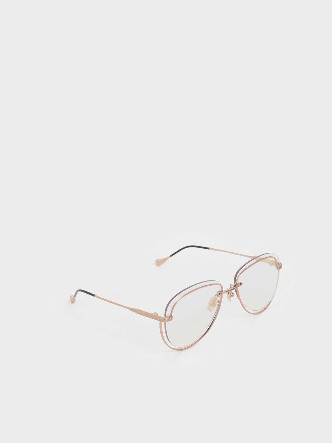 Cut-Out Tinted Sunglasses, Rose Gold, hi-res