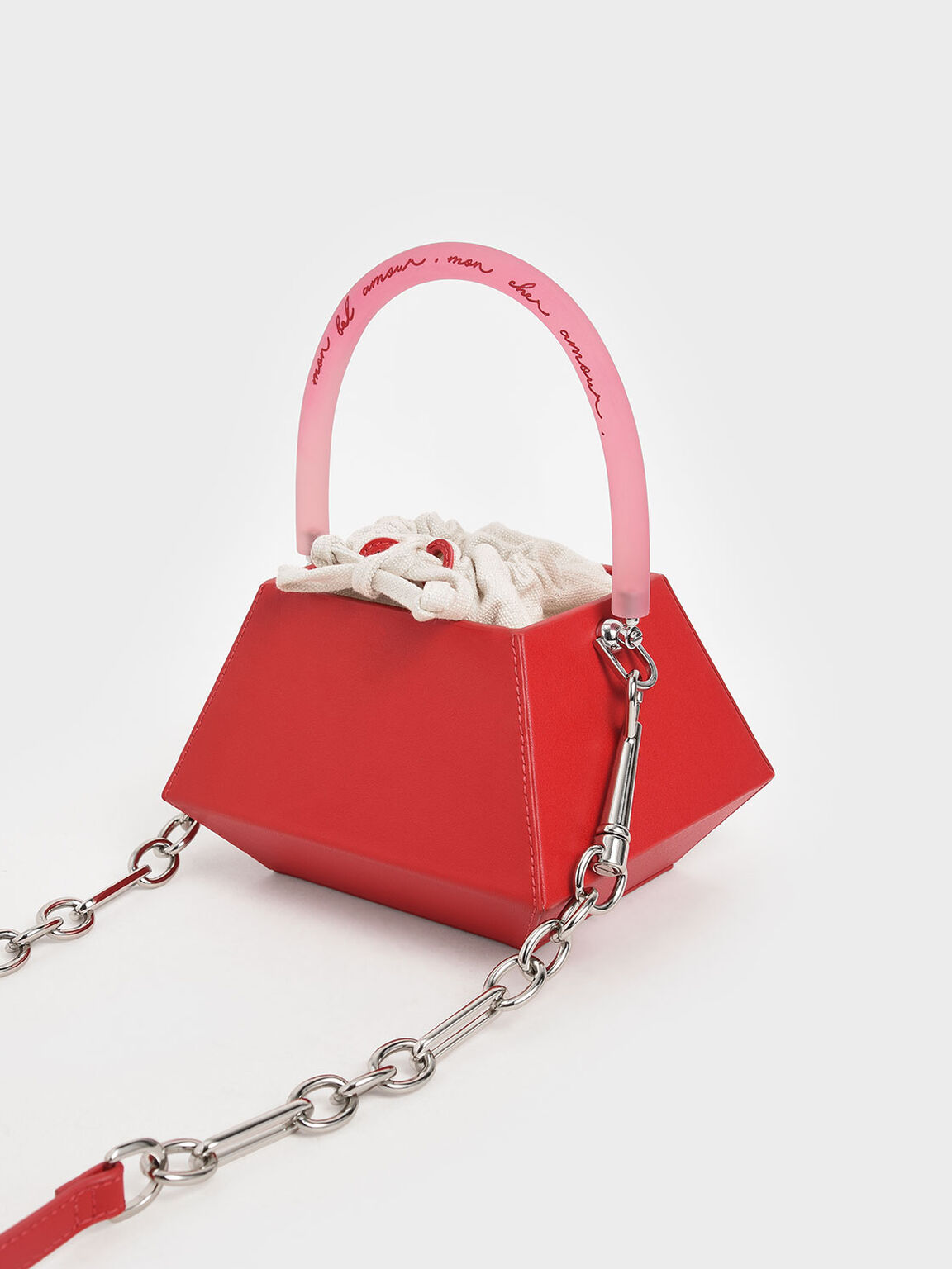 Acrylic Handle Structured Bucket Bag, Red, hi-res