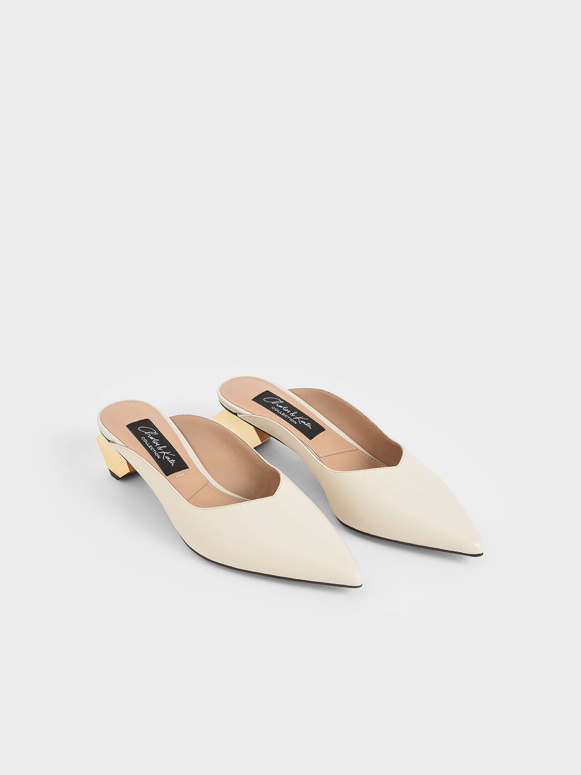Leather Sculptural Heel Mules, Chalk, hi-res