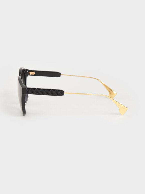 Acetate Cat-Eye Sunglasses, Black, hi-res