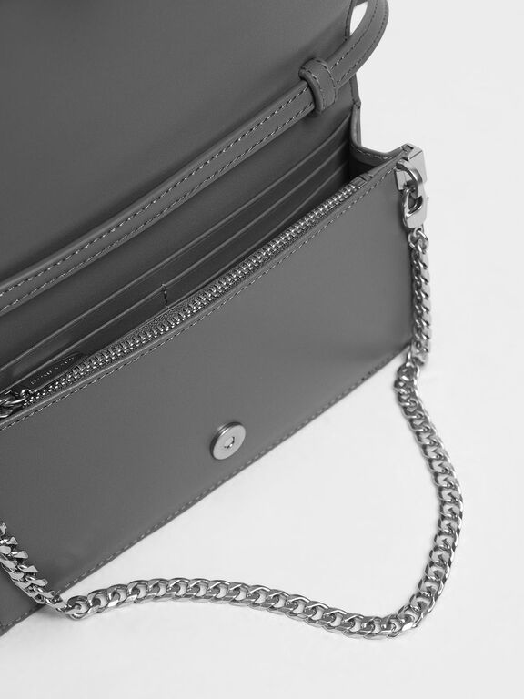 Geometric Chain Link Belt Bag, Grey, hi-res